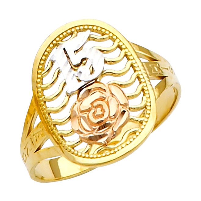 """15 Anos"" Yellow Gold Tri-color Ring"