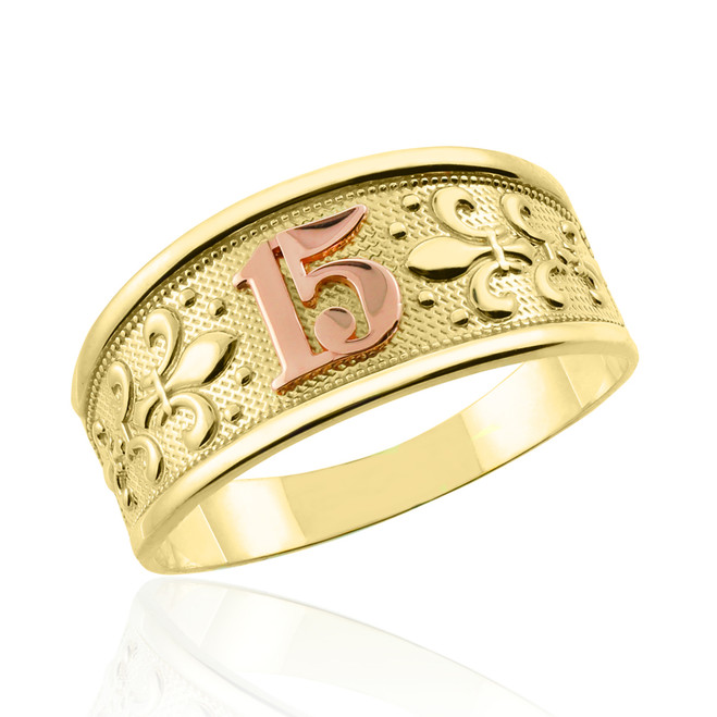 "Yellow Gold ""15 Anos""  Ring"