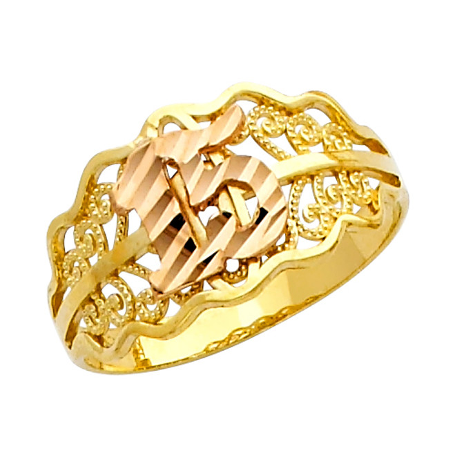 "Diamond Cut ""15 Anos"" Yellow Gold Ring"