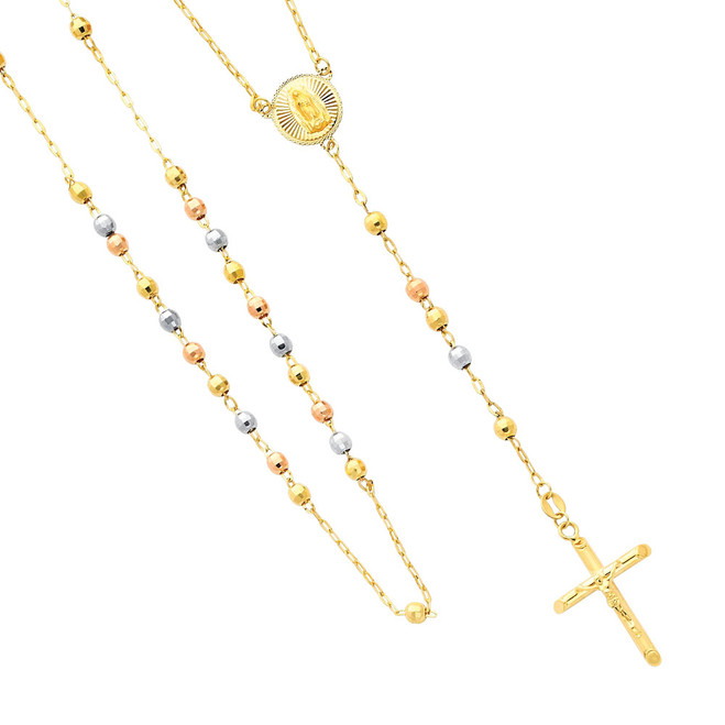 14K Tri-Color Gold Rosary Necklace - The Madonna