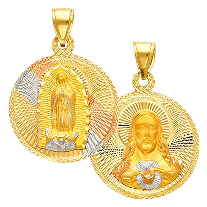 "Double Faced ""Our Lady of Guadalupe/Jesus Christ"" Pendant- 1 Inch"