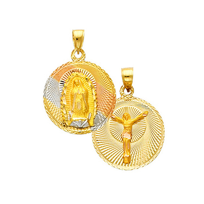 "Double Faced ""Our lady of Guadalupe/Crucifix"" Pendant- 0.50 Inch"