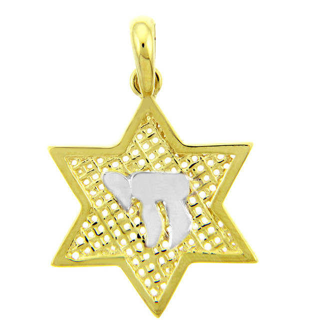 14K Yellow Gold Star of David Pendant with Chai