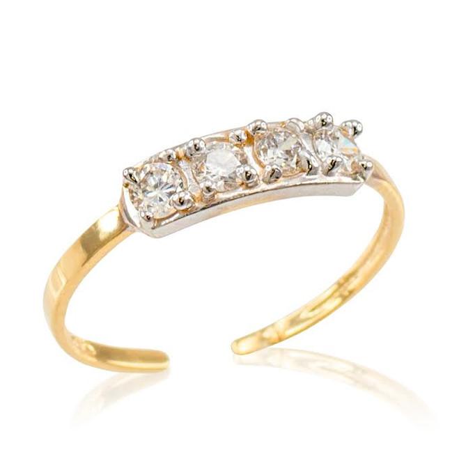 Yellow Gold CZ Toe Ring