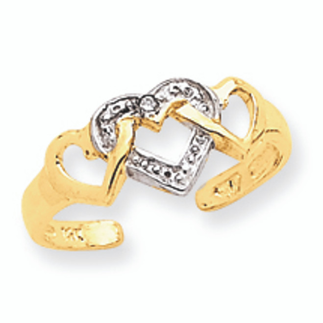 Rhodium Diamond Heart Toe Ring
