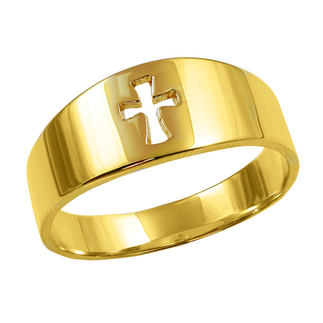 Polished Gold Cut-Out Cross Ring
