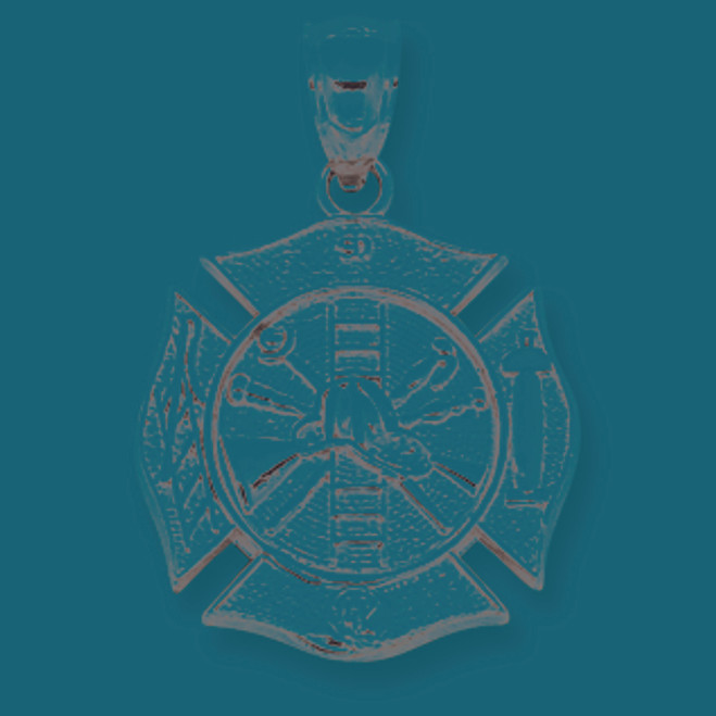 14K White Gold Fireman Badge Pendant