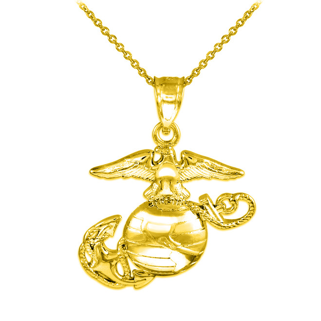 Gold US Marine Corps Medium Pendant Necklace