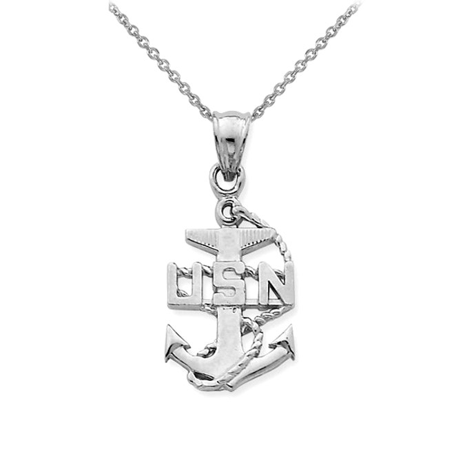 Silver USA Navy Anchor Symbol Pendant Necklace