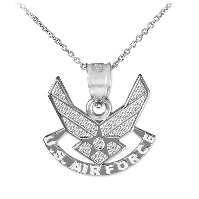 Silver US Air Force Wings Pendant Necklace