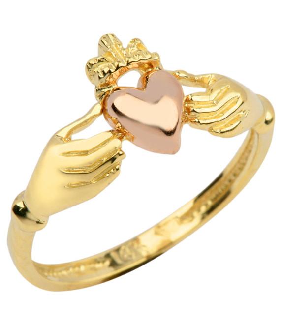 Gold Claddagh Ring Ladies with Pink Heart.  Available in your choice of 14k or 10k gold.