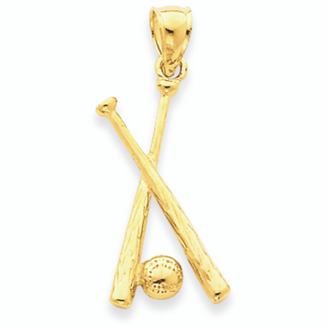 14k Polished Gold  Open-Backed Bats & Ball Baseball Pendant