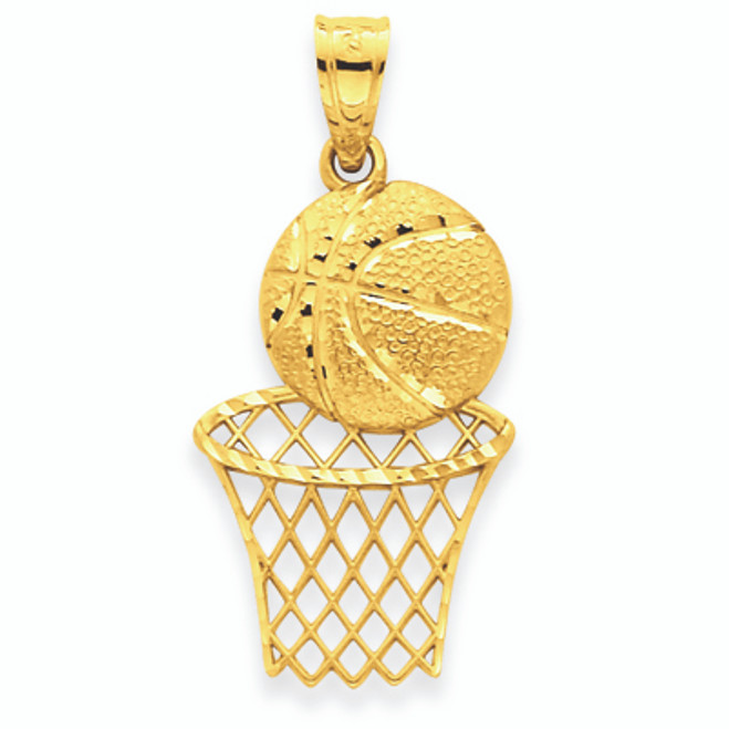 14K Solid Gold Diamond -Cut Basketball & Net Charm