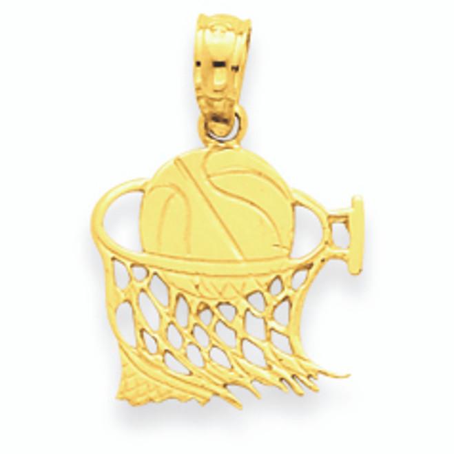 14K Gold Basketball in Net Pendant