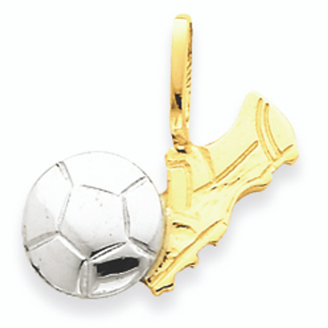 14K Gold Two Tone Soccer Ball with Shoe Charm