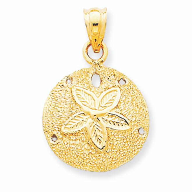 14K  Solid Gold Polished Laser-Cut Sand Dollar Pendant