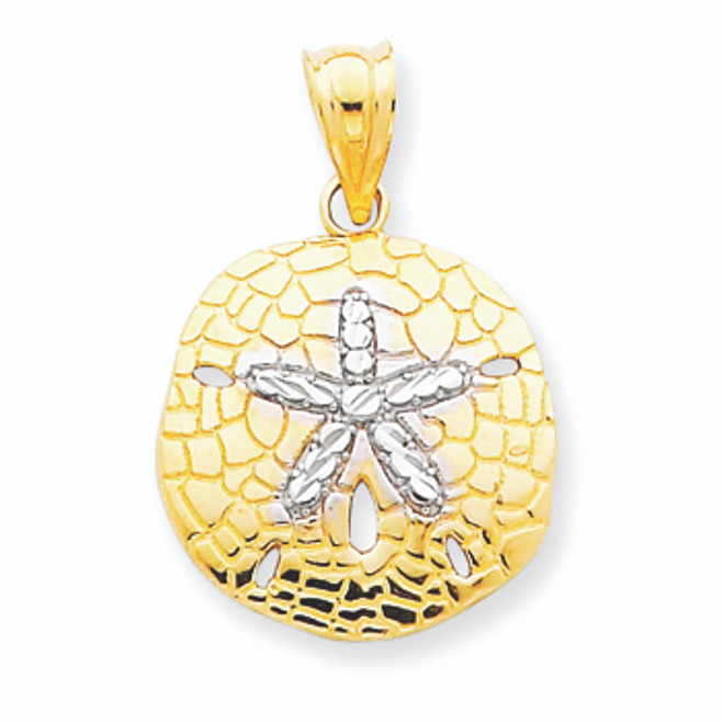 14K Gold Rhodium Polished Diamond-cut Sand Dollar Pendant