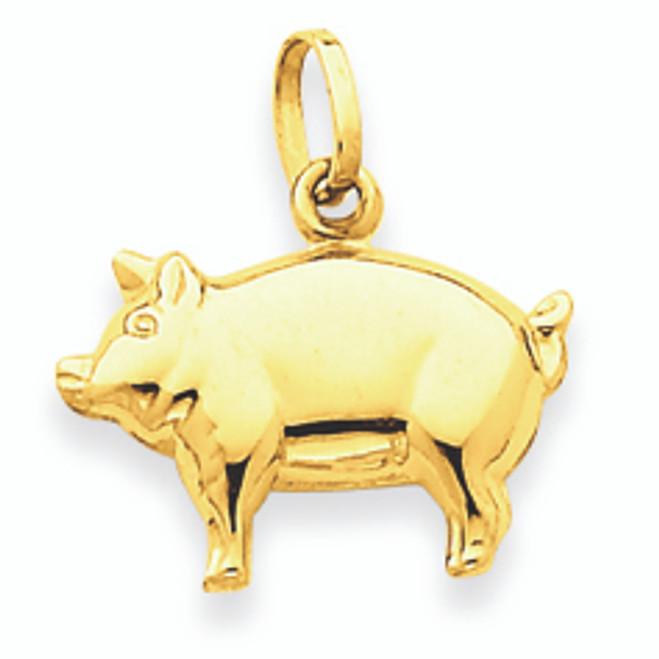 14K Polished Gold Pig Pendant