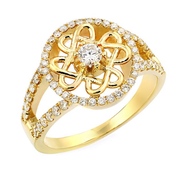 Yellow Gold Trinity Knot Diamond Wedding Ring