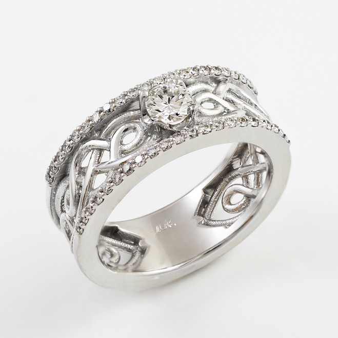 White Gold Celtic Knot Diamond Engagement Ring