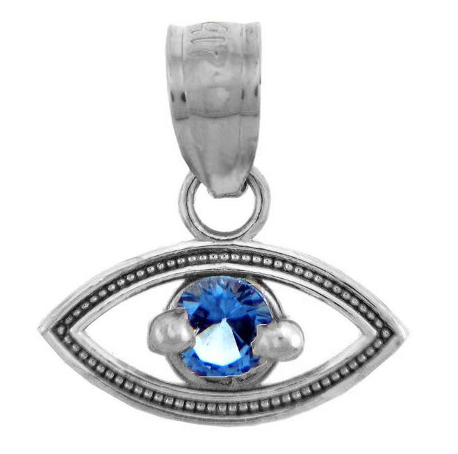 Silver Sapphire Evil Eye Pendant