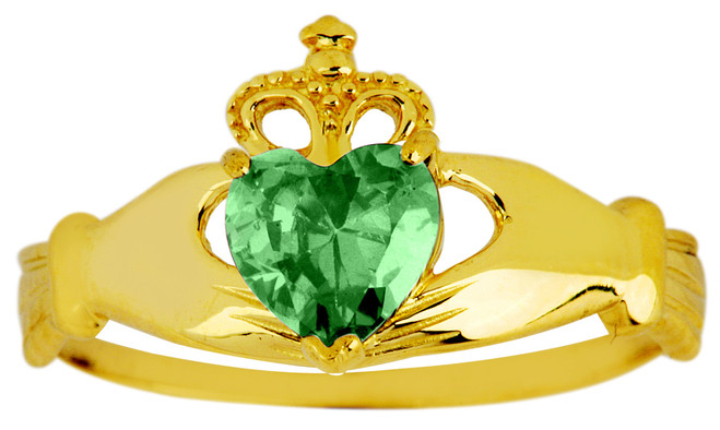 May birthstone Emerald CZ Claddagh ring in gold.