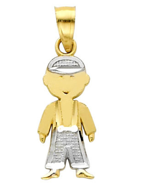 14K Two-Tone Gold Little Boy Charm