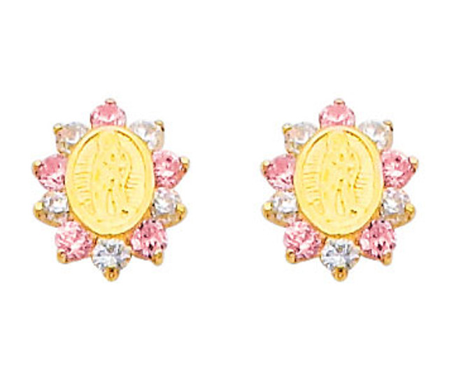 14K Gold Lady of Guadalupe CZ and Pink Sapphire Stud Earrings