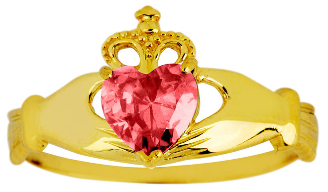 October birthstone pink tourmaline cz Claddagh ring in gold.