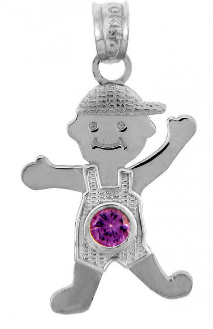 White Gold Baby Charms and Pendants - CZ Light Amethyst Boy  Birthstone Charm