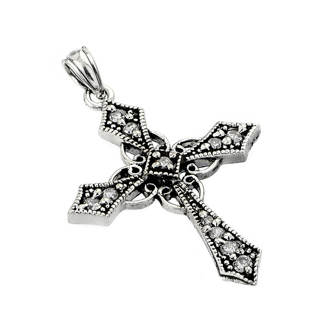 Oxidized Sterling Silver Celtic CZ Cross Pendant