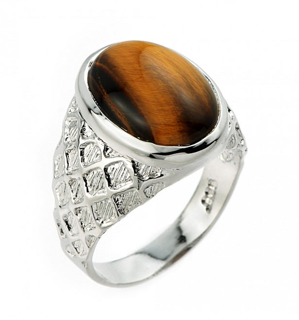 Mens Sterling Silver Tiger Eye Ring