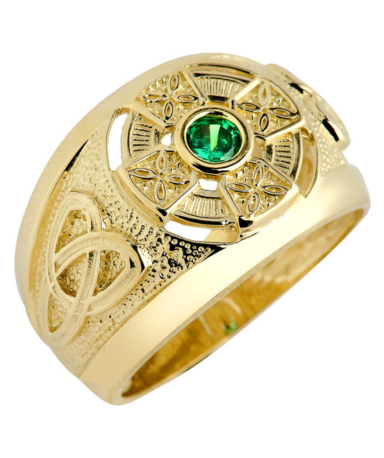 Gold Celtic Green CZ Mens Ring with Emerald