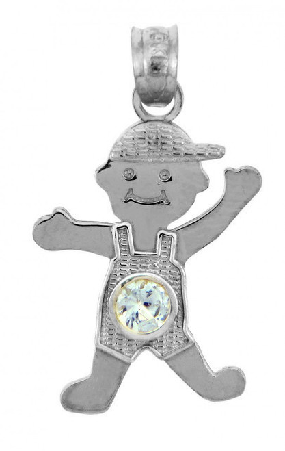 Silver  Baby Charms and Pendants - CZ Light Blue Gem Boy Birthstone Charm