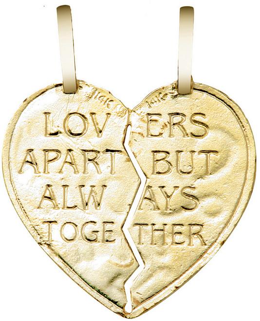 "Yellow Gold ""I LOVE YOU"" Reversable  Breakable Heart Double Pendant"