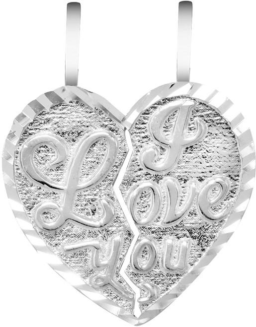 "Silver ""I LOVE YOU"" Reversable  Breakable Heart Pendant"