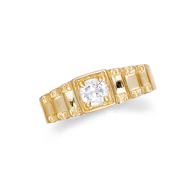 Gold Pinky Ring with Single Stone Mens