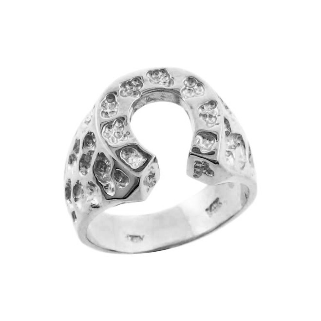 White Gold Horse Shoe Nugget Ring