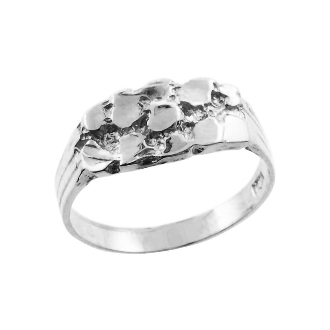 Silver Boy's Nugget Ring