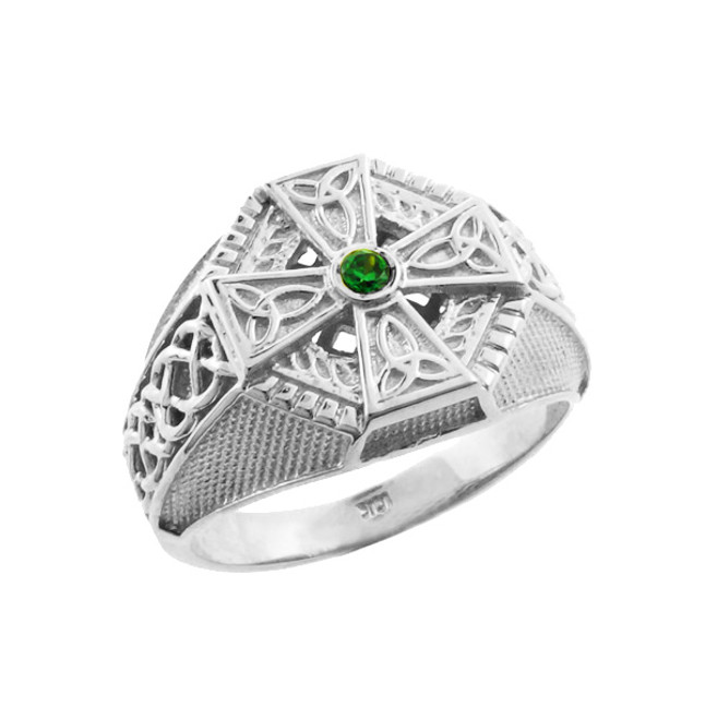 White Gold Celtic Cross Green CZ Mens Emerald Ring