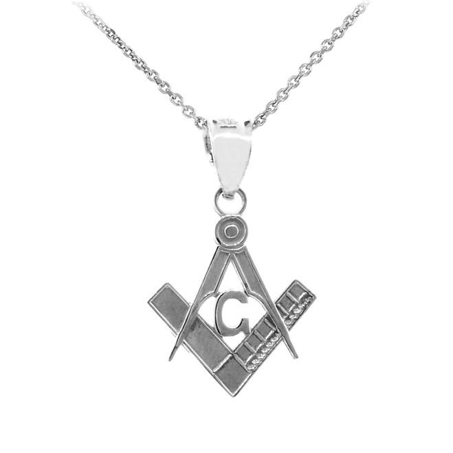 """White Gold Freemason Small Masonic Pendant .8"""""""