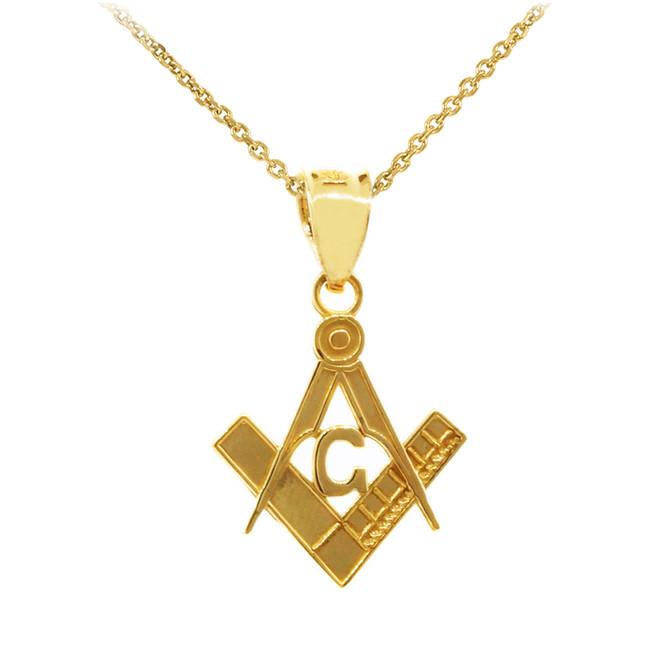 """Yellow Gold Freemason Small Masonic Pendant  0.85"""""""