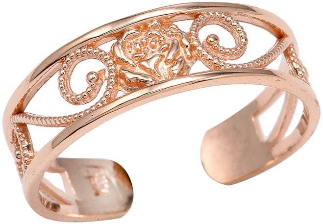 Rose Gold Fancy Toe Ring