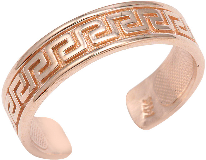 Rose Gold Greek Key Toe Ring