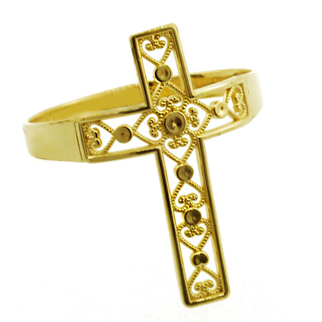 Yellow Gold Filigree Cross Ring