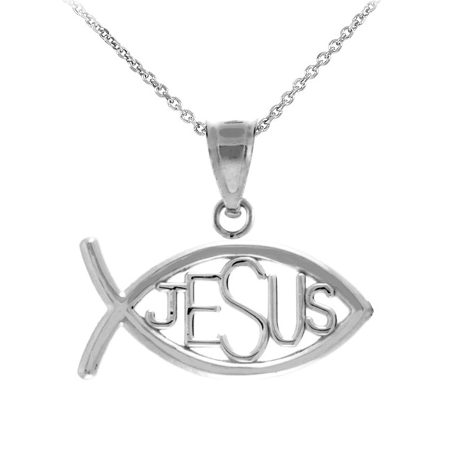 "White Gold Ichthus ""JESUS"" Inscribed Horizontal Pendant Necklace"