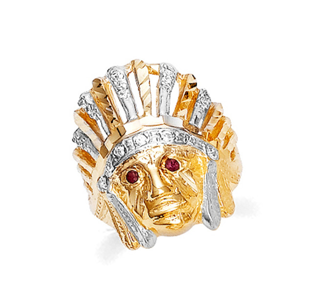 Gold Indian Head Mens Ring