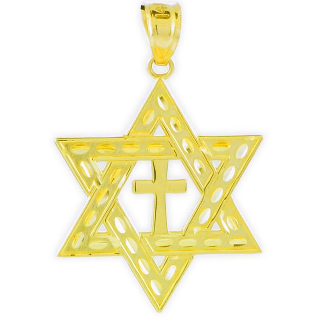 "Yellow Gold Jewish Star of David Cross Pendant (M) 1.25"""