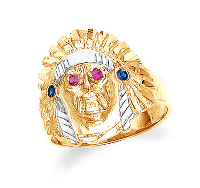 Gold Indian Head Mens Cubic Zirconia Ring