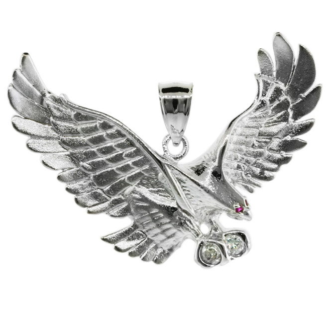 925 Sterling Silver Eagle Pendant with CZ (Medium)